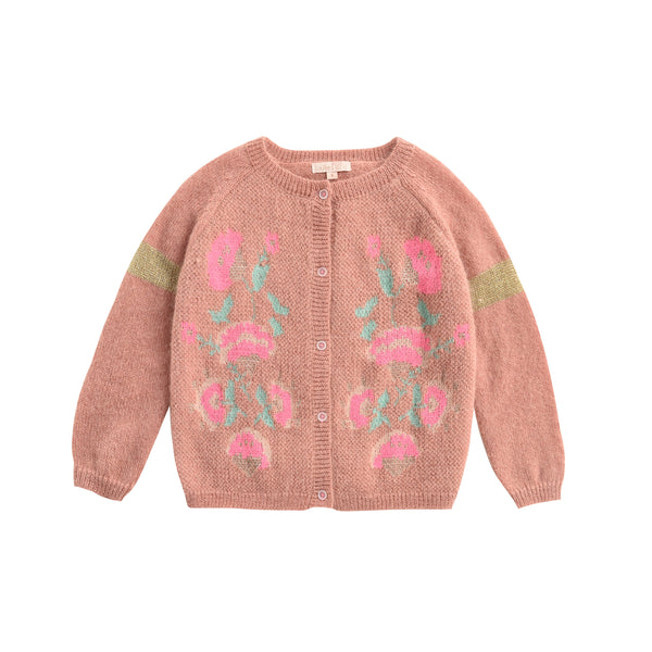 Girls Pink Embroidered Cardigan