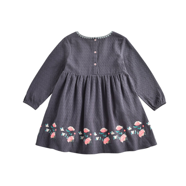 Girls Grey Embroidered Cotton Dress