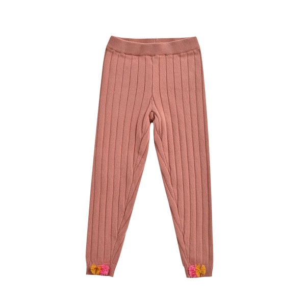 Girls Pink Cotton Leggings