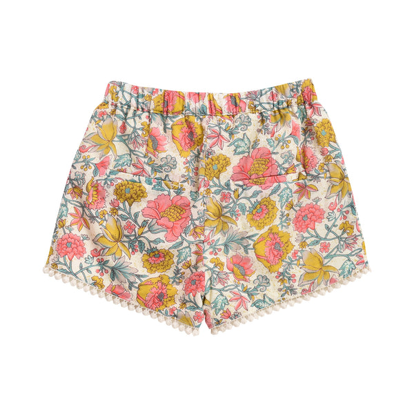 Girls Multi Flowers Cotton Shorts