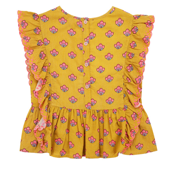 Girls Safran Flowers Cotton Top