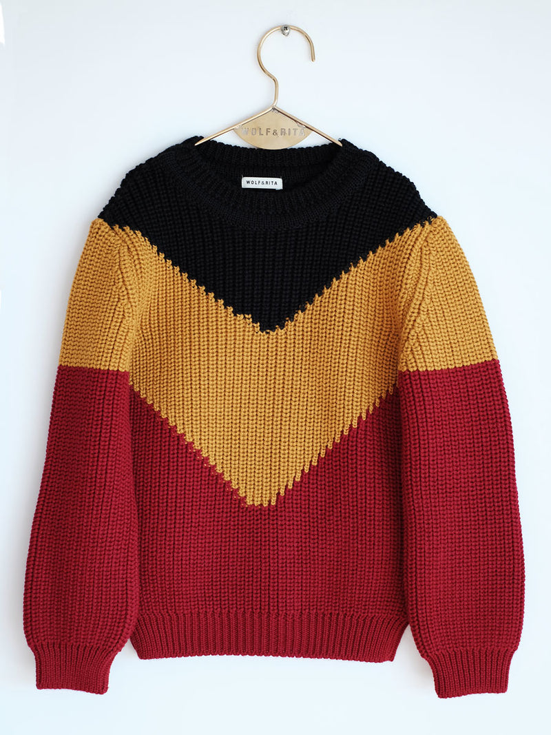 Boys Black & Red  Wool  Sweater