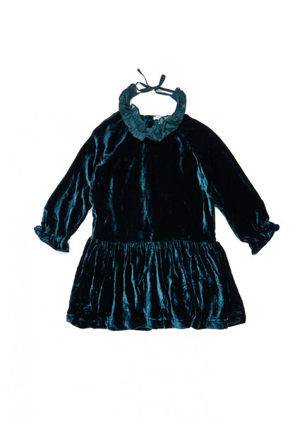 Girls  Deep  Teal  Velvet  Dress