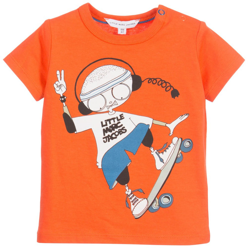 Baby Boys Red 'Mr Marc' Printed Cotton Jersey T-Shirt - CÉMAROSE | Children's Fashion Store