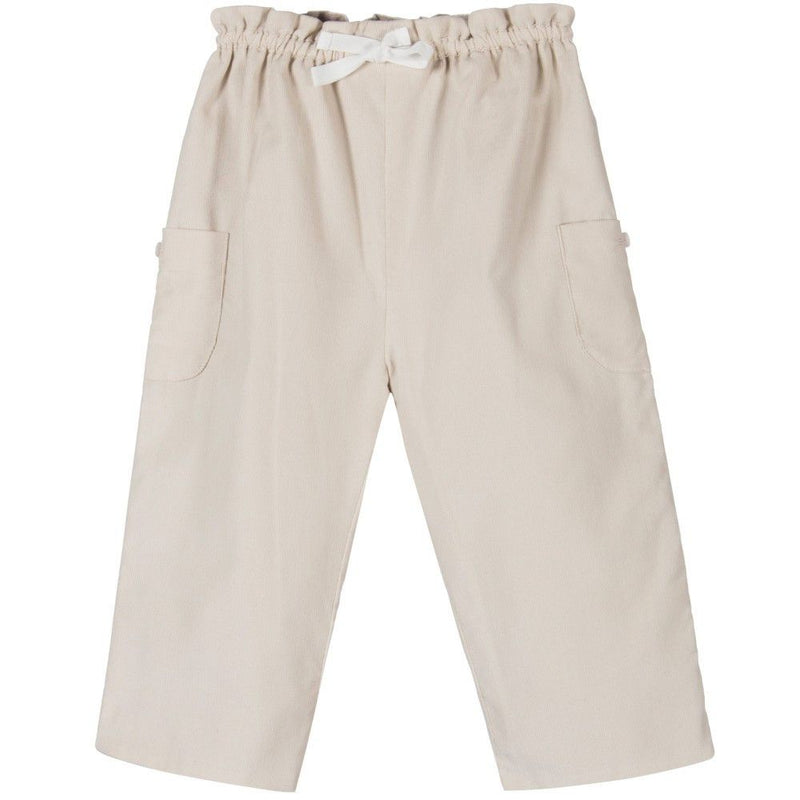 Baby Girls Beige Cord Trouser With Bow Trim - CÉMAROSE | Children's Fashion Store
