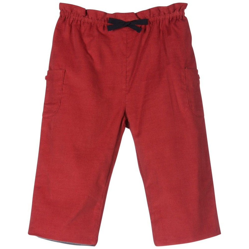 Baby Girls Red Cord Trouser With Bow Trims - CÉMAROSE | Children's Fashion Store