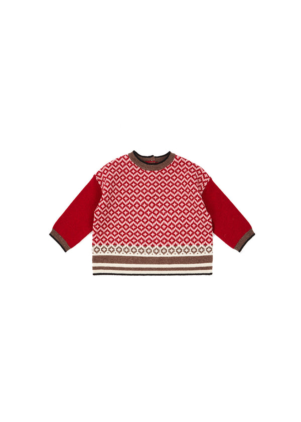 Baby Girls Red Check Wool Sweater