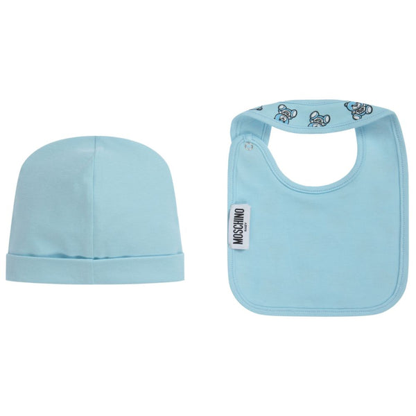 Baby Boys Blue Hat & Bib Set