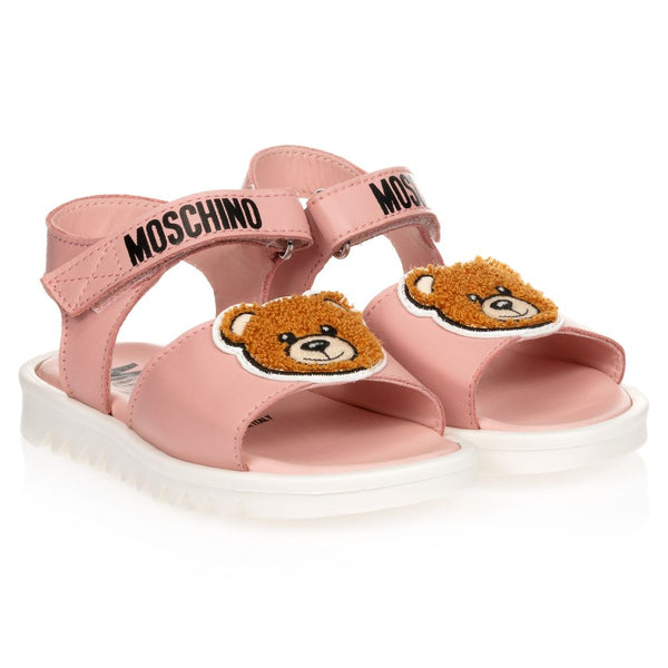 Baby Girls Pink Patch Teddy Sandals