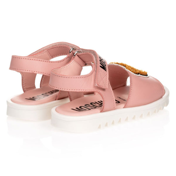 Girls Pink Patch Teddy Sandals