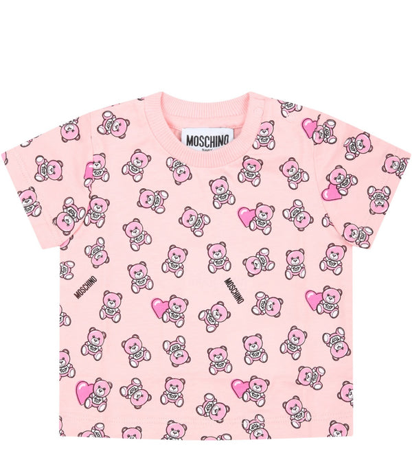 Baby Girls Pink Logo Cotton T-Shirt