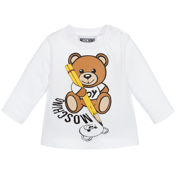 Baby Boys & Girls Optical White Print Long Sleeves T-Shirt