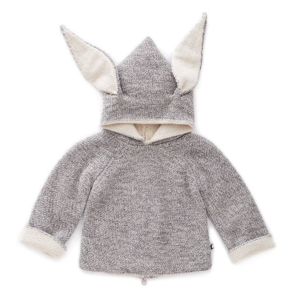 Girls Grey Rabbit Hooded Top