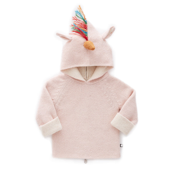 Girls Pink Rainbow Hooded Sweater
