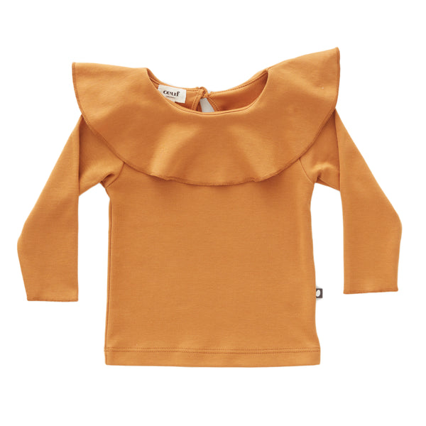 Girls Ochre Ruffle Collar Cotton Shirt