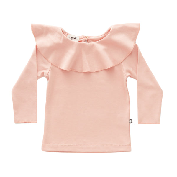 Girls Pink Ruffle Collar Cotton Shirt