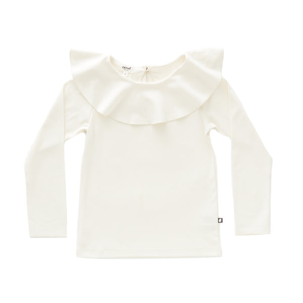 Girls White Ruffle Collar Cotton Shirt