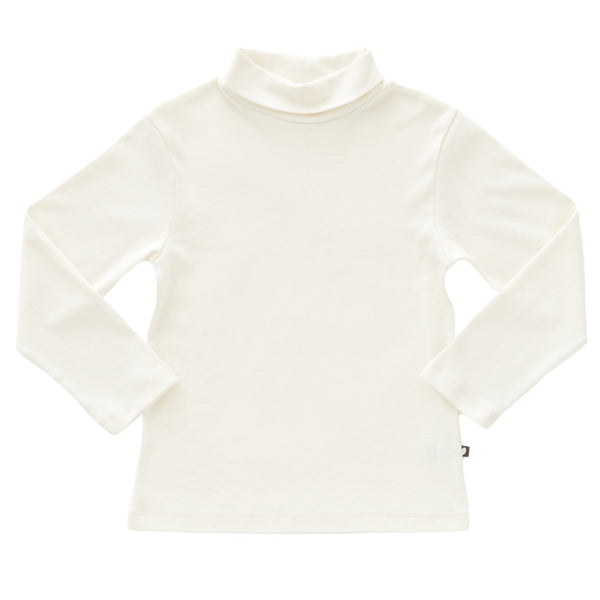 Girls White Turtleneck Cotton Top