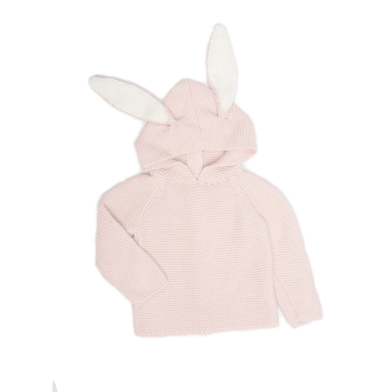 Baby Light Pink Hooded Bunny Trims Sweater