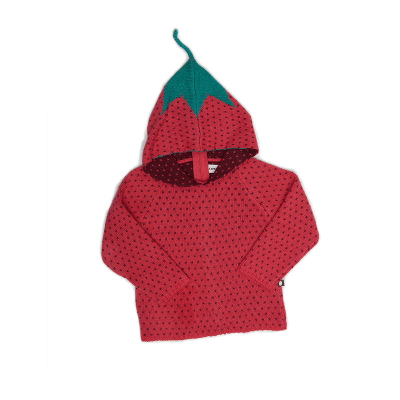 Girls Red Strawberry Hoodie Sweater