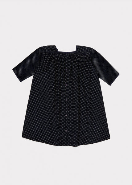 Girls Navy Babycord Dot Cotton Dress