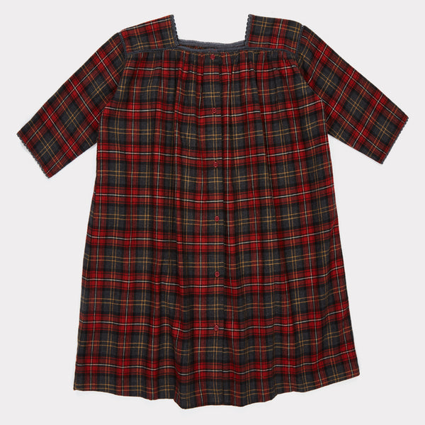 Girls Tartan Red Check Cotton Dress
