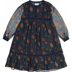 Girls Navy Lndian Flower Cotton Dress