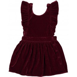 Girls Burgundy Velvet Dress