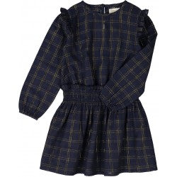 Girls Navy Check Gold Lurex Cotton Dress