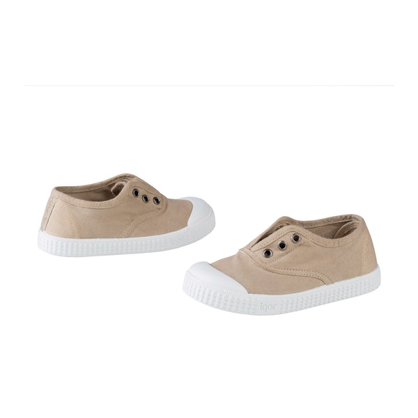 Girls Beige Cotton Shoes