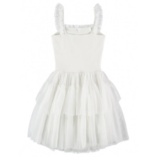 Girls White Cotton Knitted Dress