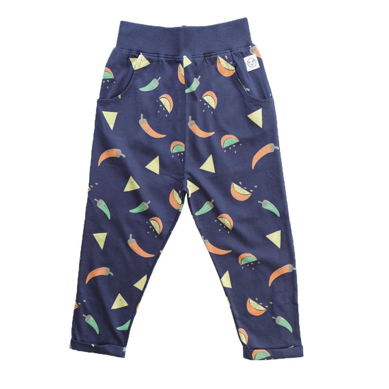 Girls Navy Blue Spicy Nacho Printed Cotton Trousers - CÉMAROSE | Children's Fashion Store