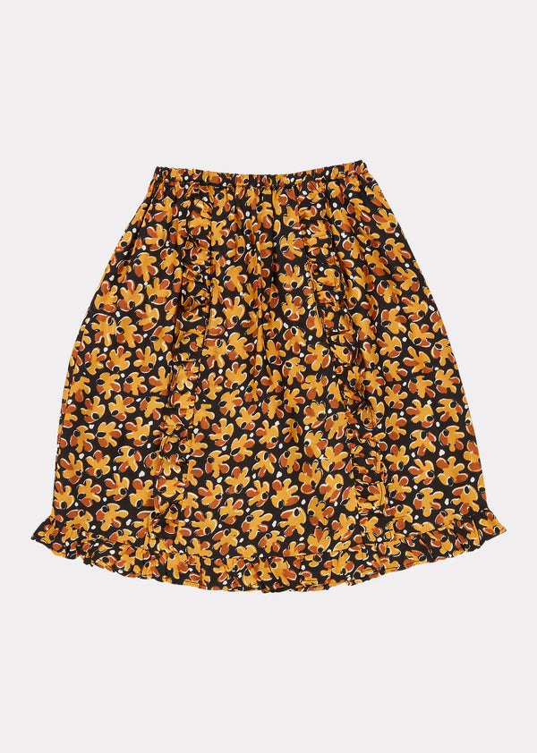 Girls Black Leaf Print Stork Skirt