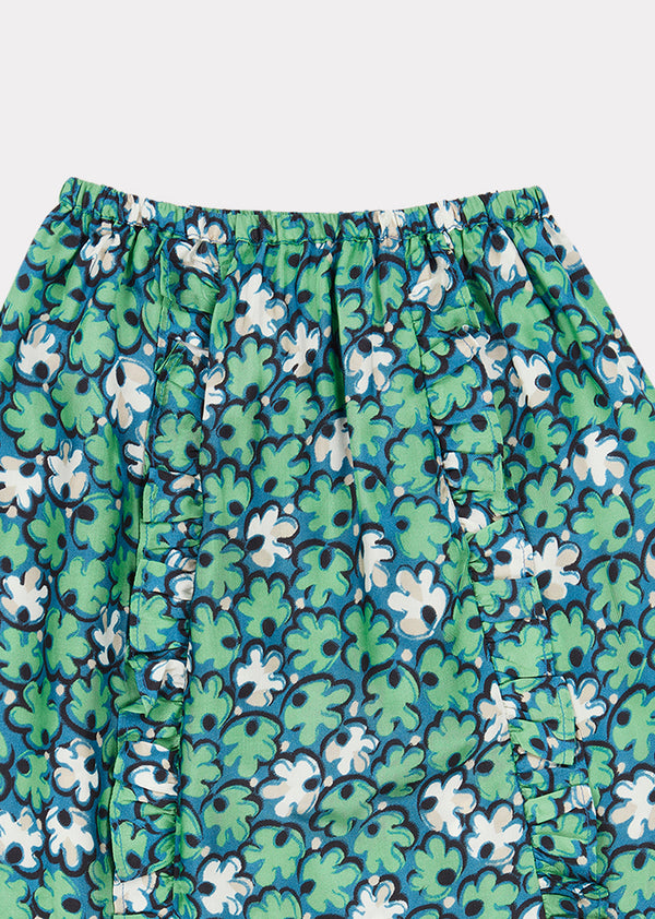 Girls Green Leaf Print Stork Skirt