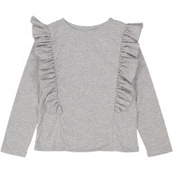 Girls Marled Grey Cotton T-shirt