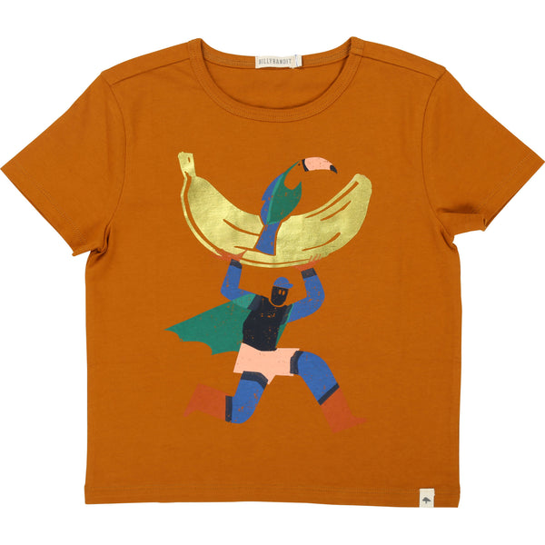 Boys Brown Cotton T-shirt