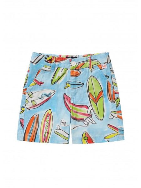 Boys Blue Printed Cotton Shorts