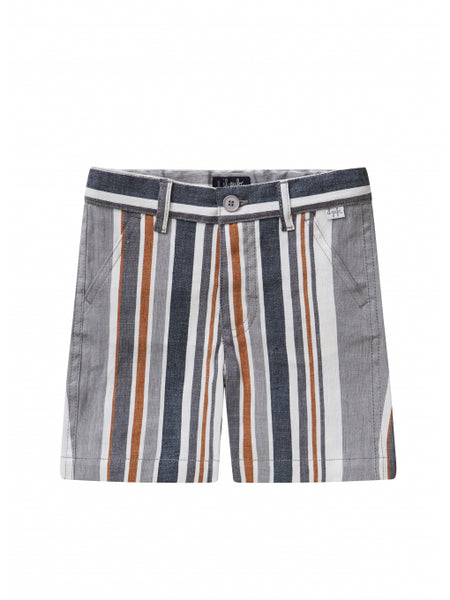 Boys Grey Stripes Linen Shorts