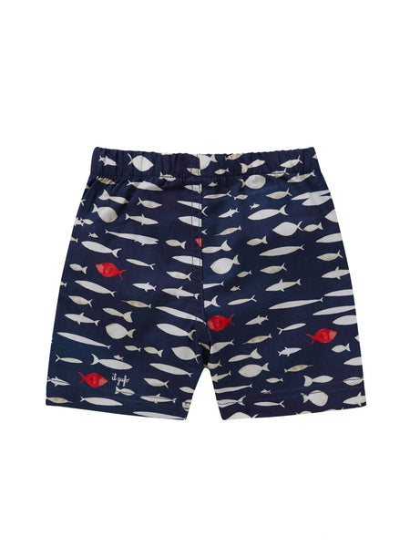 Baby Boys Deep Blue Cotton Bermuda Shorts