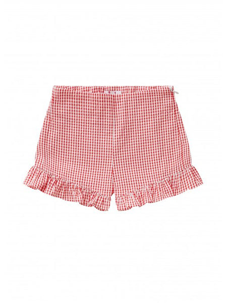 Girls Lava Red Check Cotton Shorts