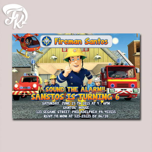 Fireman Sam Design Birthday Party Card Digital Invitation