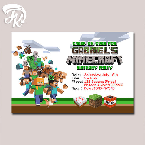 Minecraft 2015 Design Birthday Party Card Digital Invitation