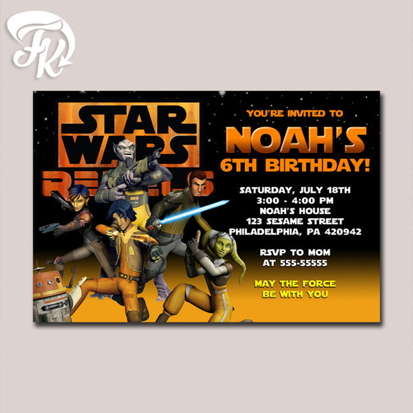 Star Wars Rebels Adventure Birthday Party Card Digital Invitation