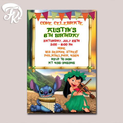 Lilo And Stitch Sunset Beach Birthday Party Card Digital Invitation