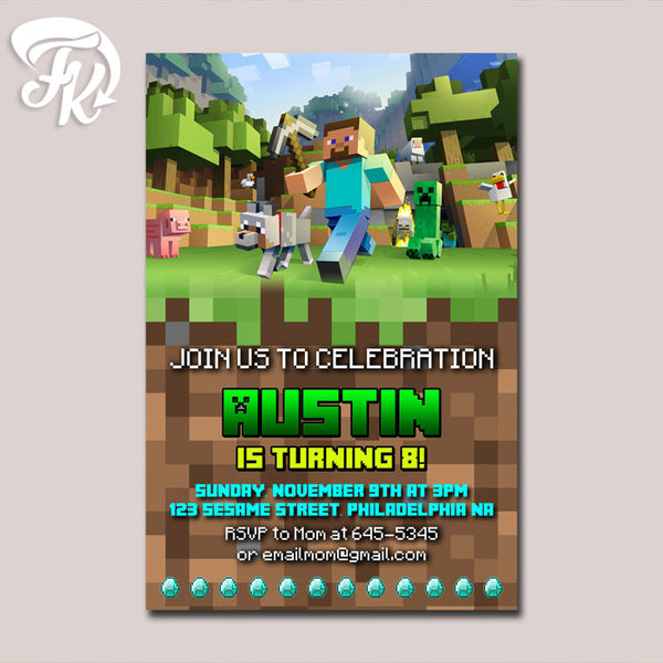 Minecraft Design Creeper Birthday Party Card Digital Invitation