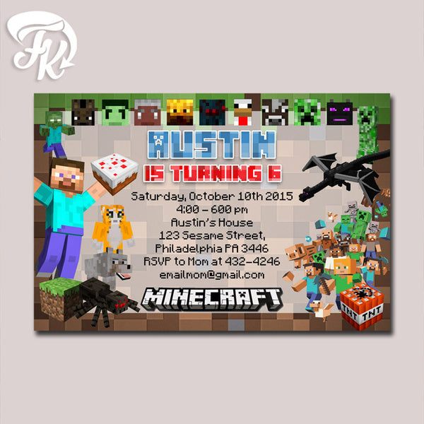 Minecraft Invitation Printable Birthday Party Card Digital Invitation