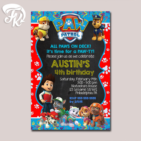 Paw Patrol Paws Celebrate Birthday Party Card Digital Invitation