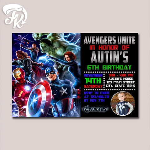 The Avengers Marvel Heroes Birthday Party Card Digital Invitation