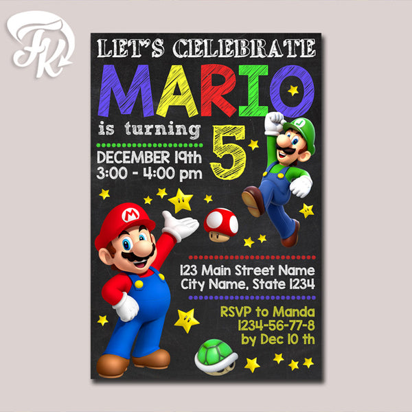 Super Mario Invitation Printable Chalkboard  Birthday Party Card Digital Invitation