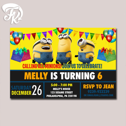 Minion Chalkboard Invitation Birthday Birthday Party Card Digital Invitation